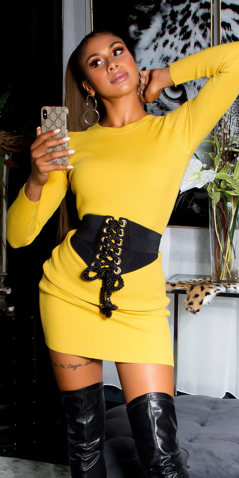 Sexy rib-knit mini dress with decorative studs Mustard