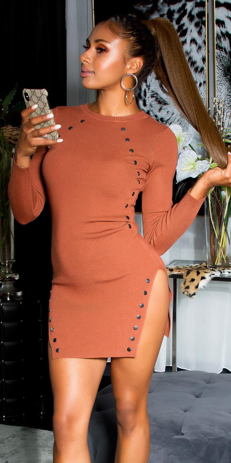 Sexy gebreid mini jurkje met diepe splits brons