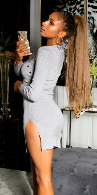 Sexy knitted mini dress with side splits Gray