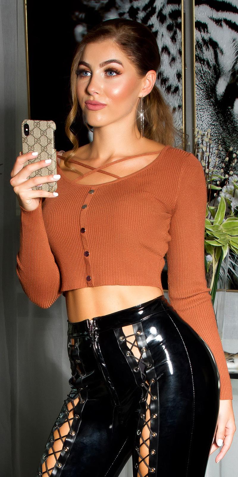 Sexy crop fijn gebreide sweater-trui brons