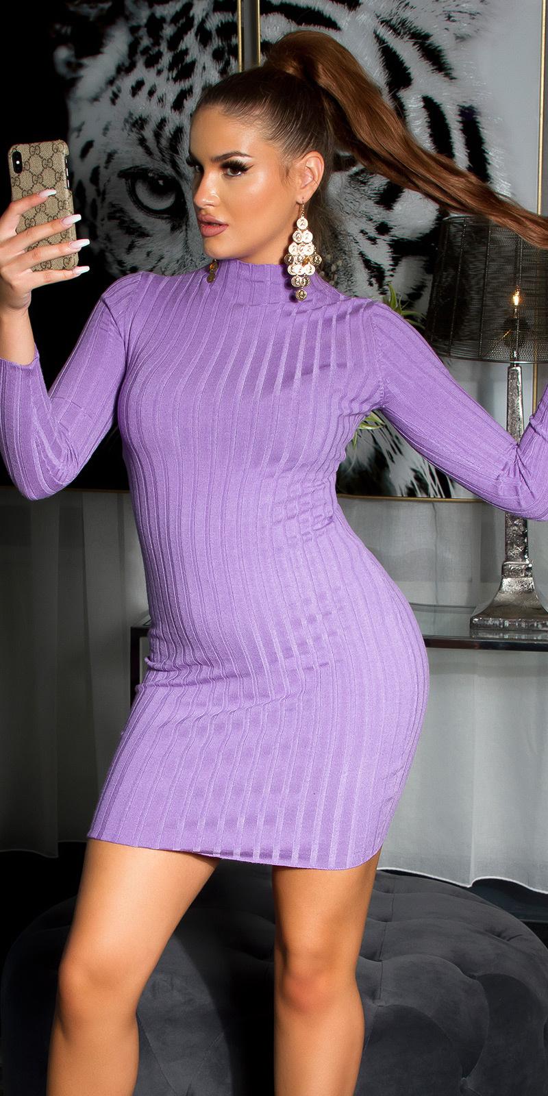 Sexy hoge halter gebreide jurk lila
