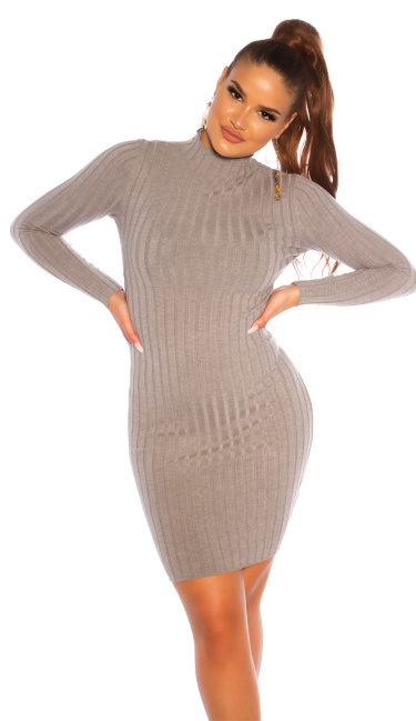 Sexy high neck knitted dress Gray