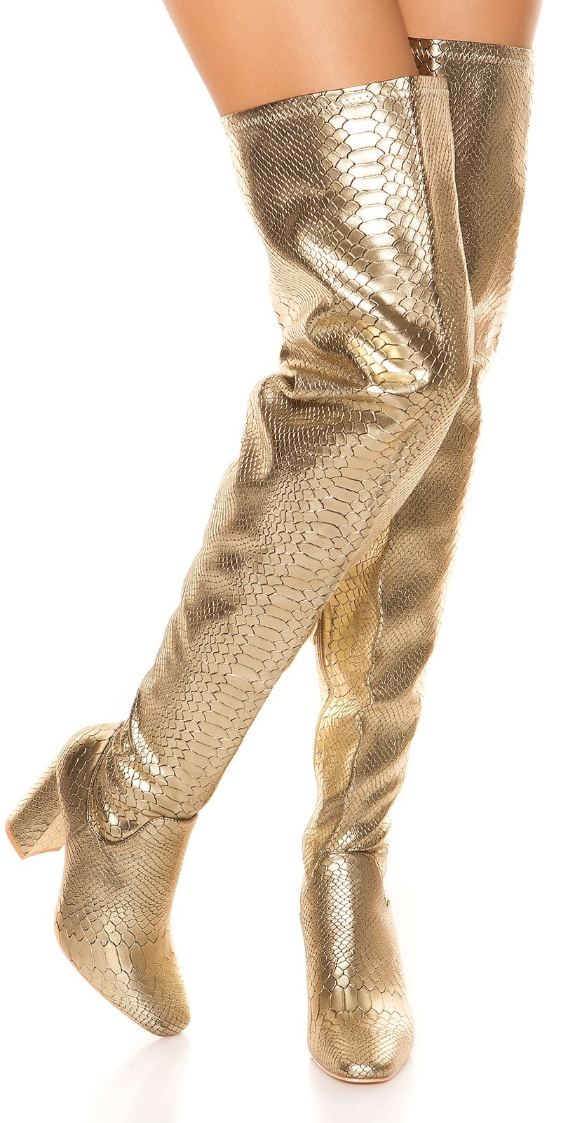 Sexy overknee laarzen blokhak reptiel look goud