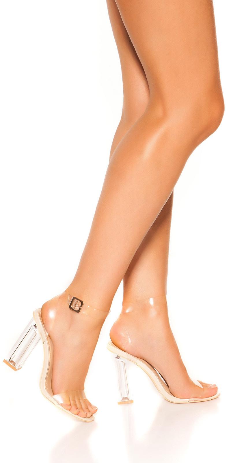 Sexy block high heel sandals Nude