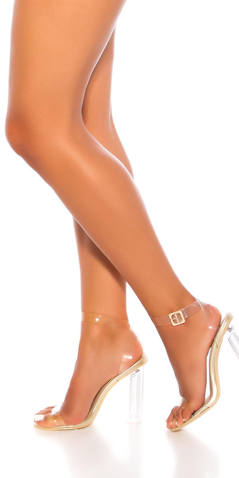 Sexy block hoge hakken sandalen-sandaletten goud