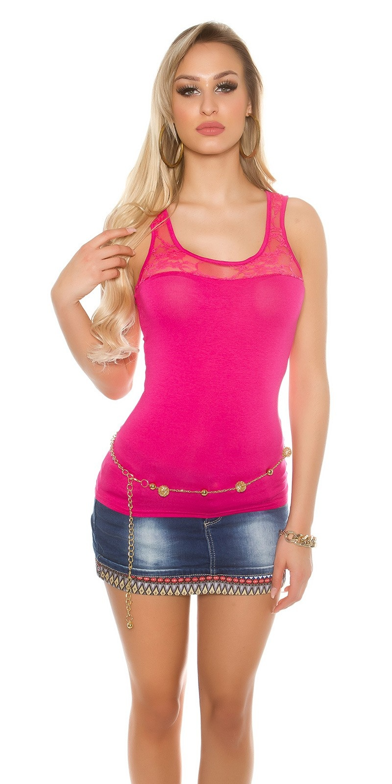 Sexy tank top with lace at the neckline Fuchsia