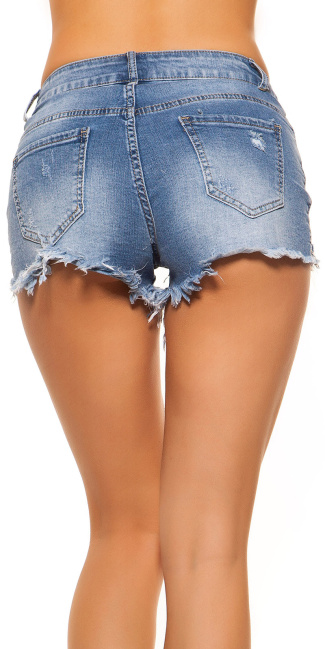 Sexy Jeans Hot Pants Used Look with lace Jeansblue