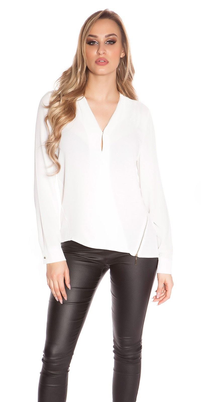 Sexy rimpel chiffon blouse in wikkel look + ritssluiting wit
