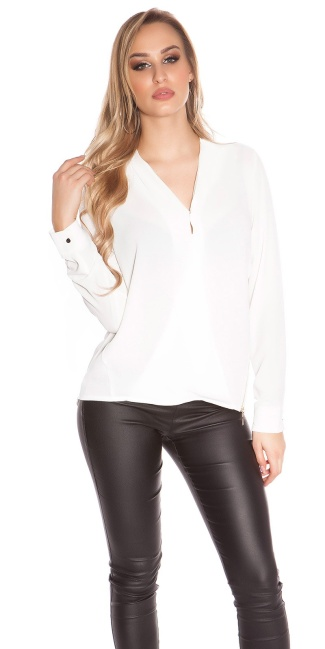 Sexy Crinkle Chiffon blouse in wrap look + zip White