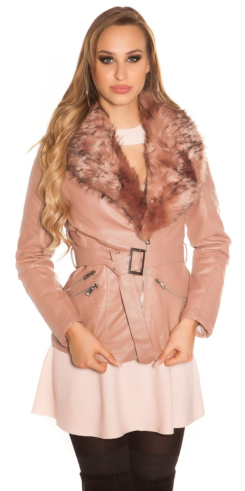 Trendy leather look jacket lined with fake fur Antiquepink