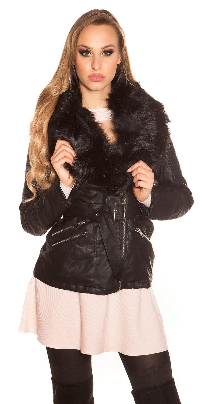 Trendy leder look jas gevoerd met nep bont zwart