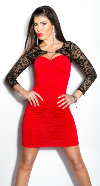 Sexy KouCla lace-minidress with rhinestone-brooch Red