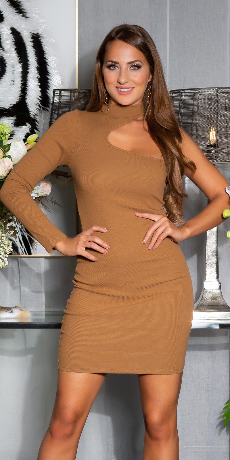 Sexy een-schouder bodycon jurk bruin