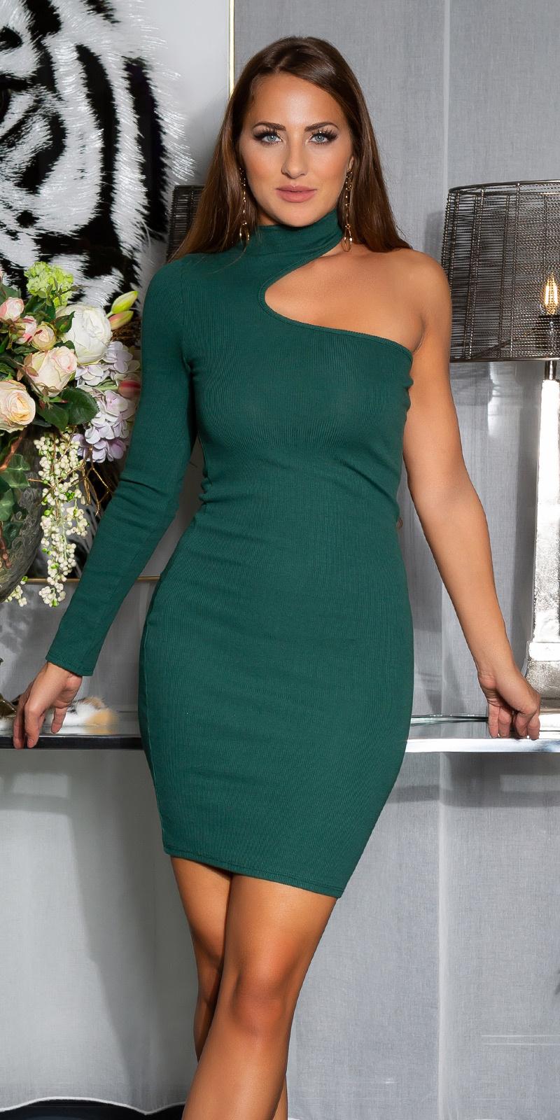 Sexy een-schouder bodycon jurk groen
