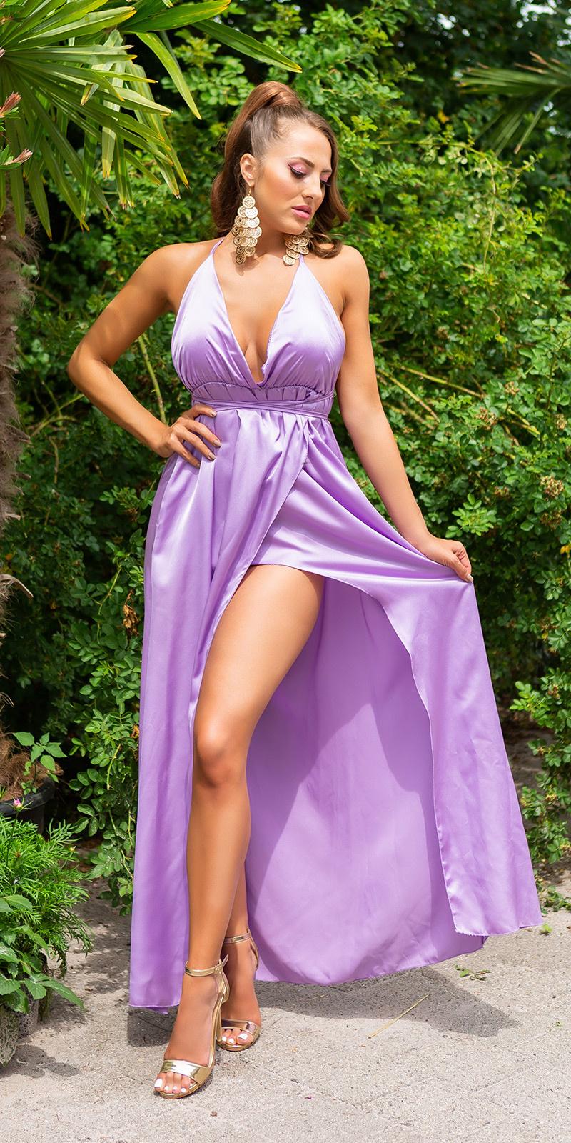 Sexy satijn-look maxi jurk met open rug lila