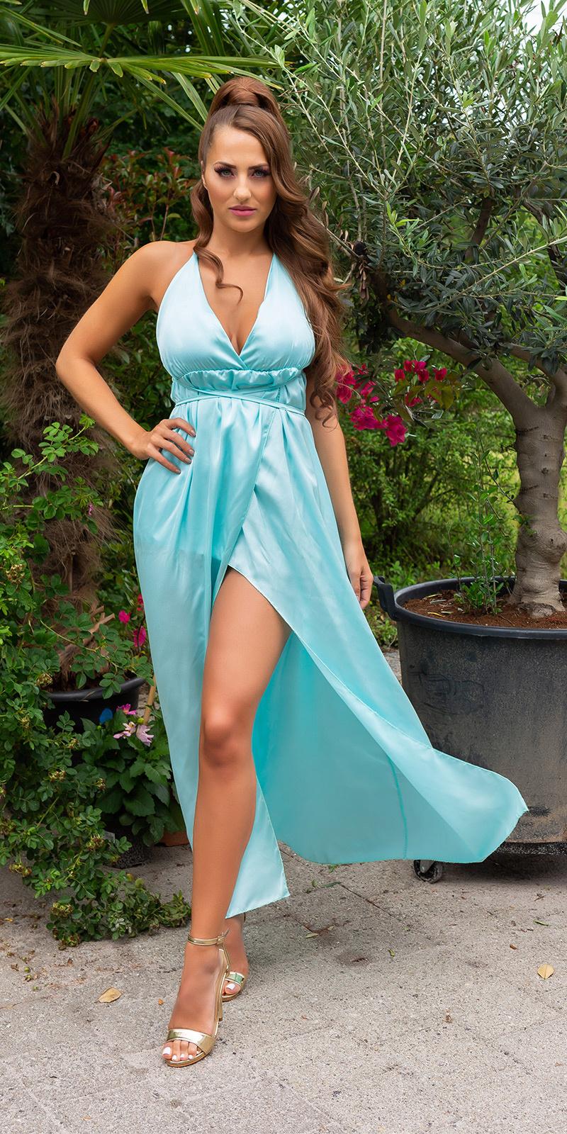 Sexy satijn-look maxi jurk met open rug groen