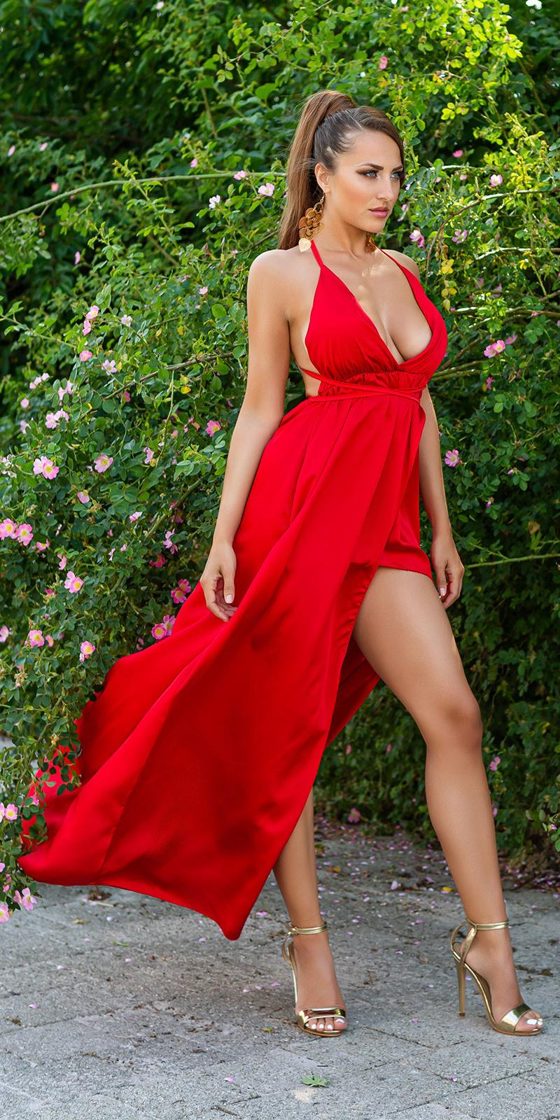 Sexy satijn-look maxi jurk met open rug rood