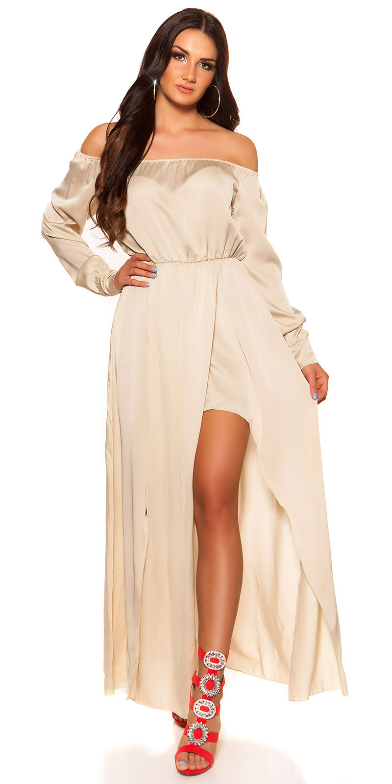 Sexy hoog-laag off shoulder jurk in satijn look beige