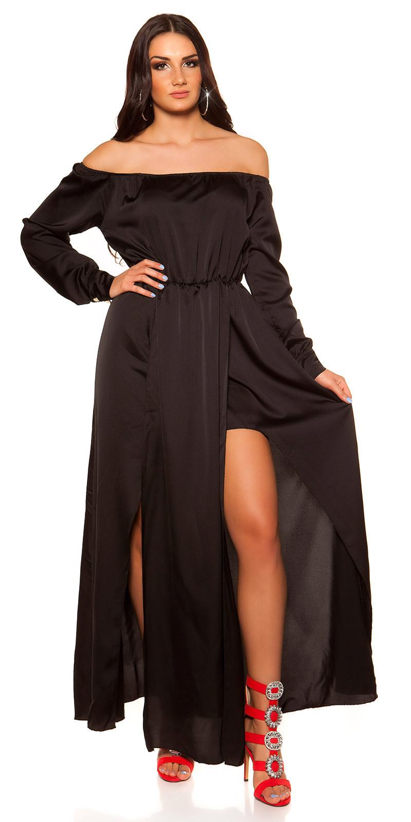 Sexy hoog-laag off shoulder jurk in satijn look zwart