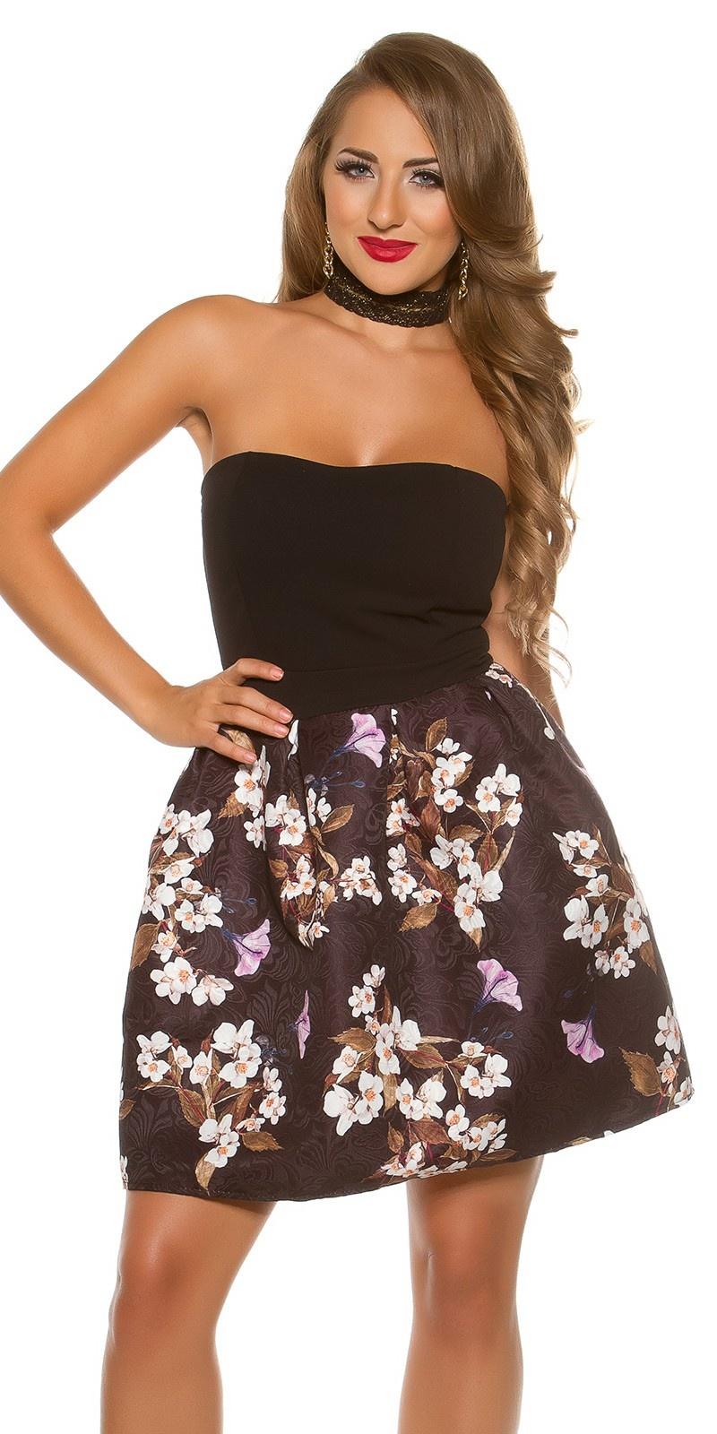 Sexy bandeau jurk met bloemen-print zwart