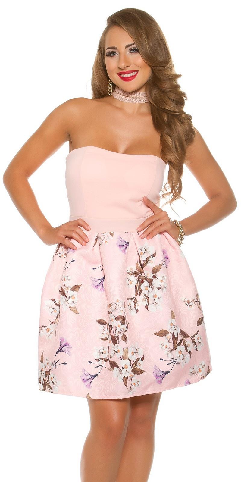 Sexy bandeau jurk met bloemen-print roze