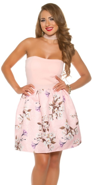 Sexy bandeau dress with floral print Pink