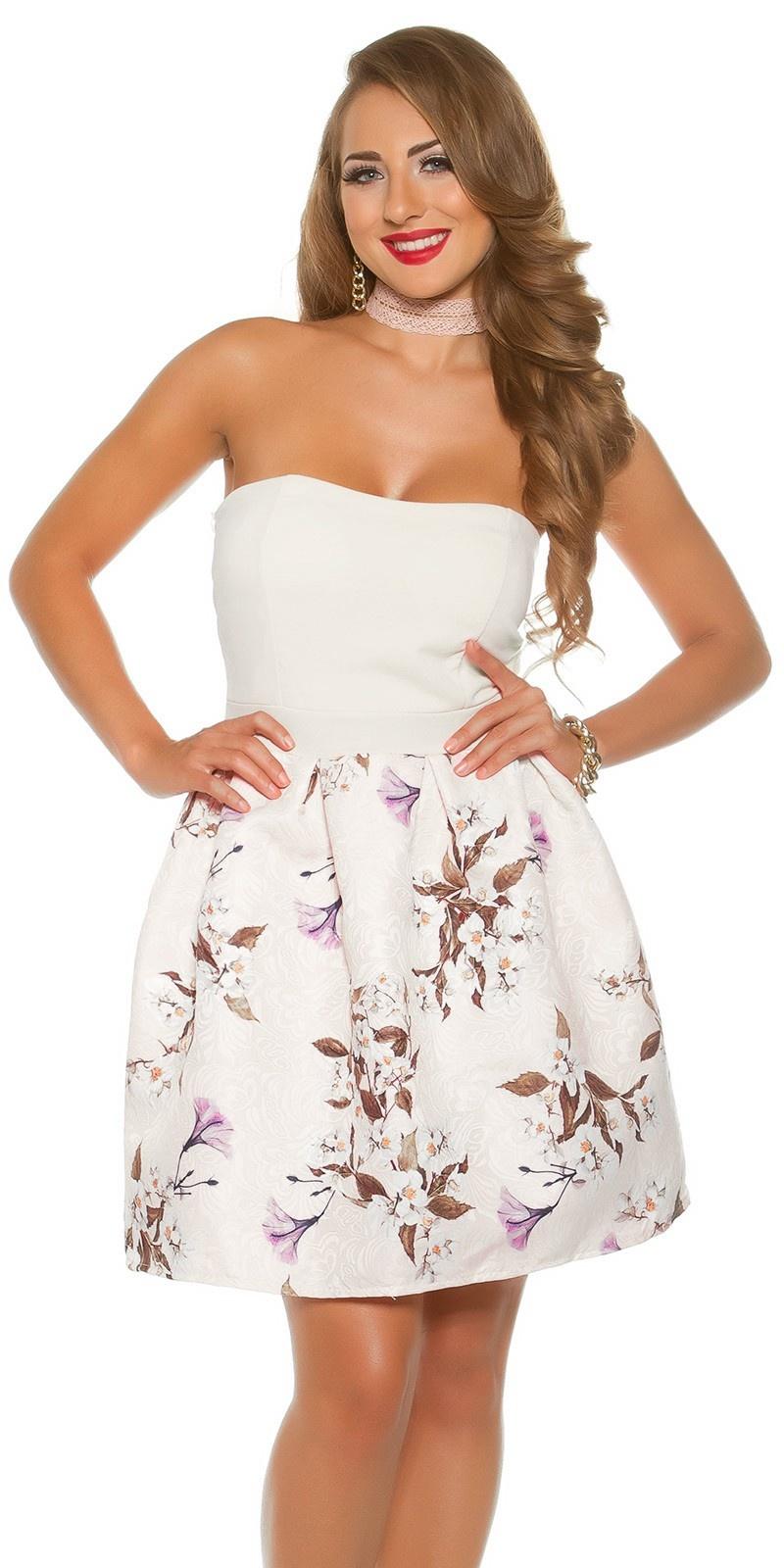 Sexy bandeau jurk met bloemen-print wit