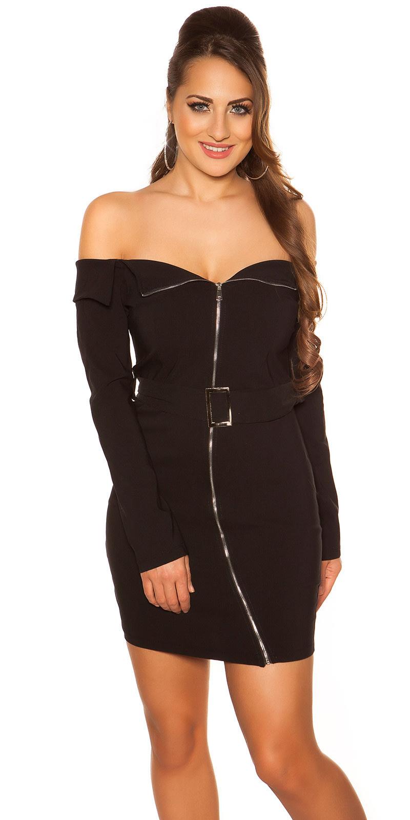 Sexy off shoulder mini jurkje met riem zwart