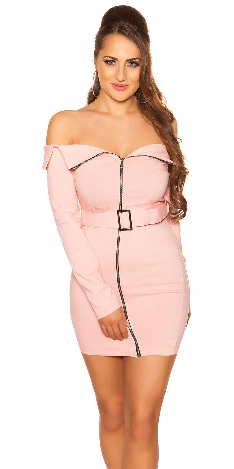 Sexy off shoulder mini jurkje met riem roze