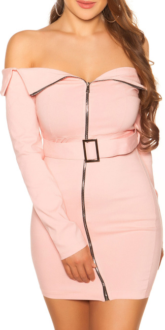 Sexy KouCla Off Shoulder Mini Dress with Belt Pink