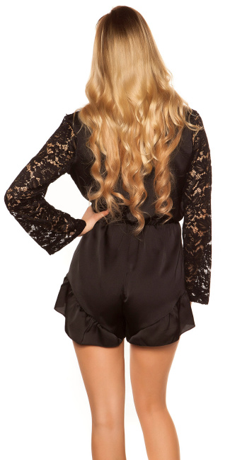 Sexy V-Cut playsuit in satin look Black