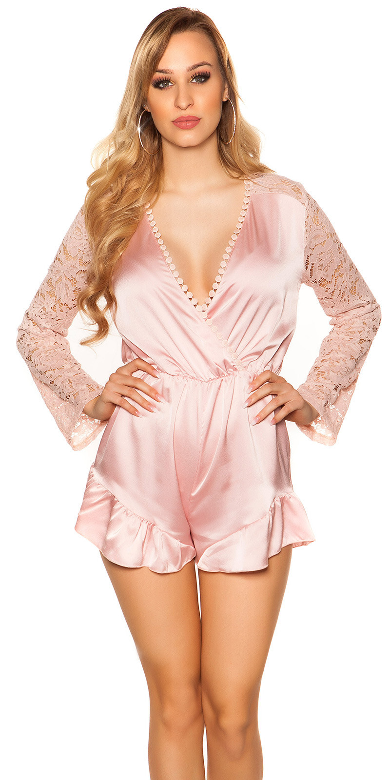 Sexy v-hals playsuit in satijn look roze