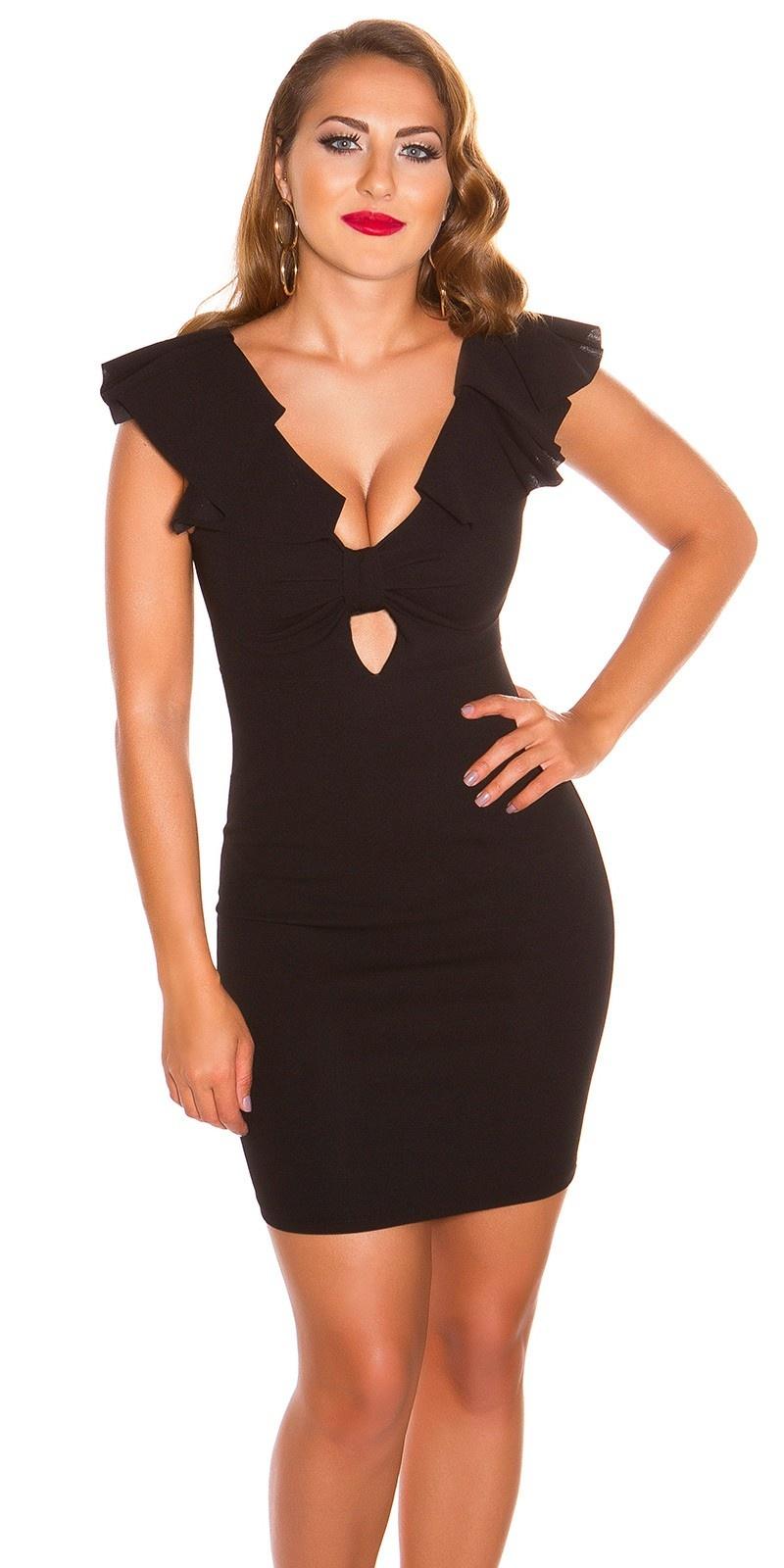 Sexy v-hals jurk met volant zwart