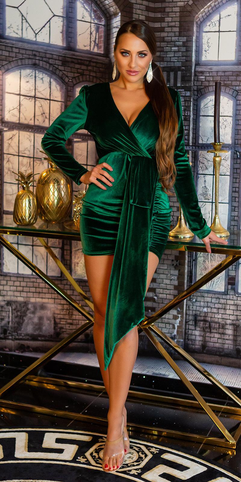 Sexy suede look feest uitgaans mini jurkje groen