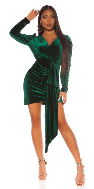 Sexy suede look party mini dress Green