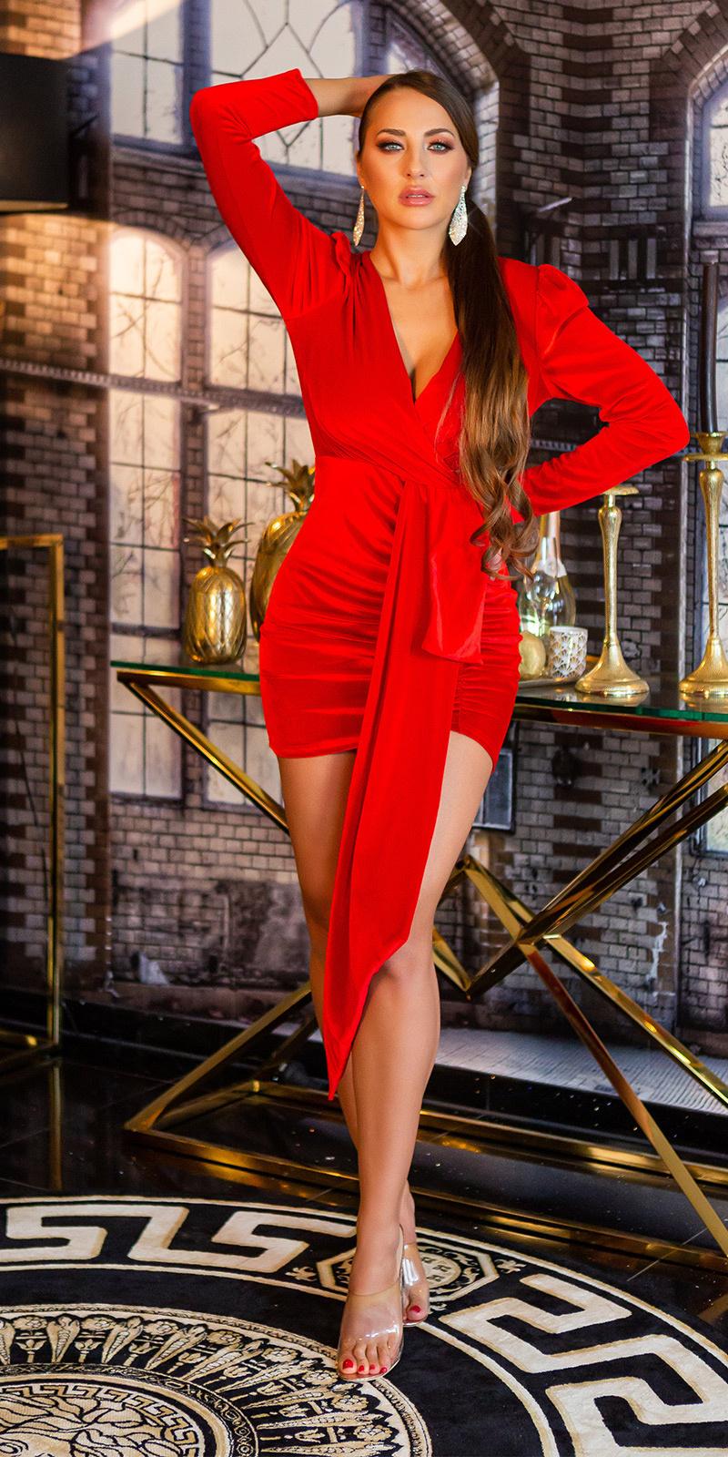 Sexy suede look feest uitgaans mini jurkje rood