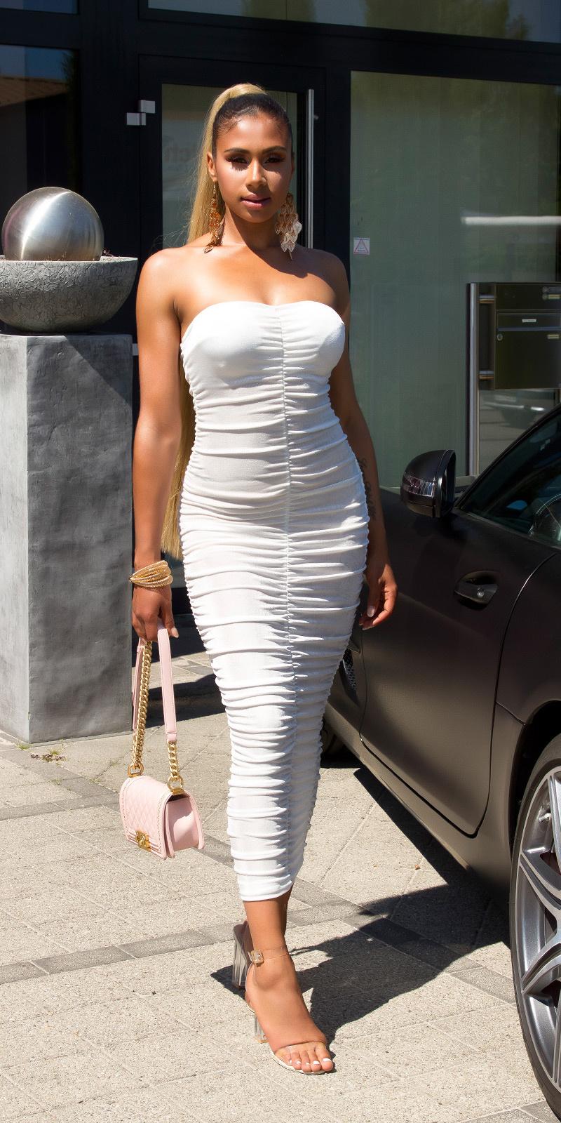 Sexy volant-geplooide bandeau midijurk wit