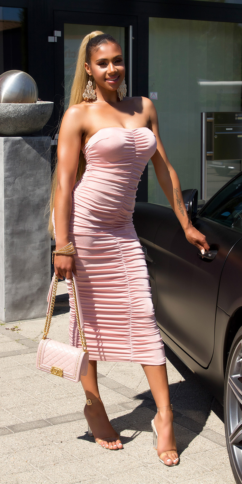 Sexy ruched Bandeau Mididress Pink