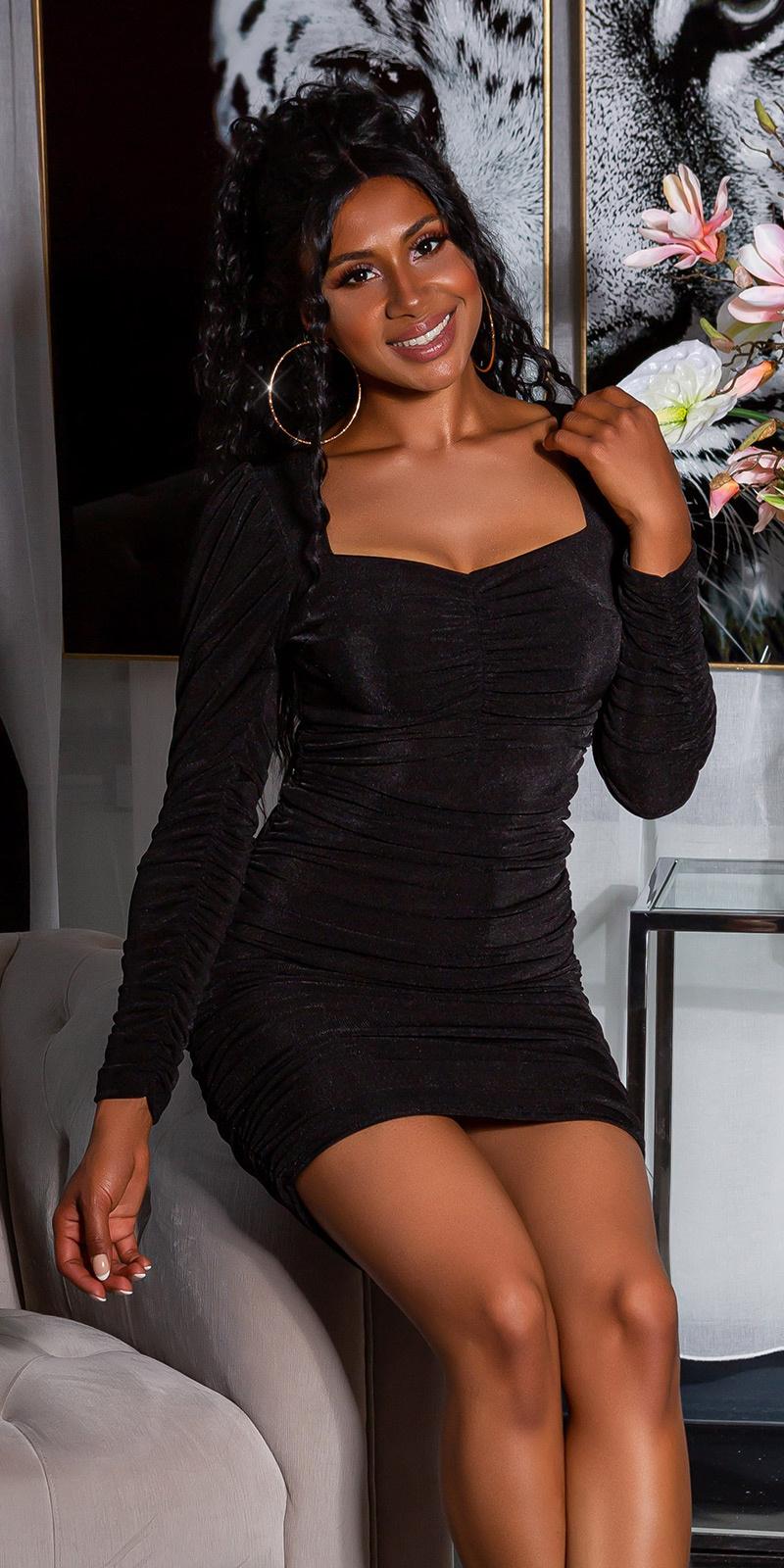 Sexy langmouw jurk volant-geplooid zwart