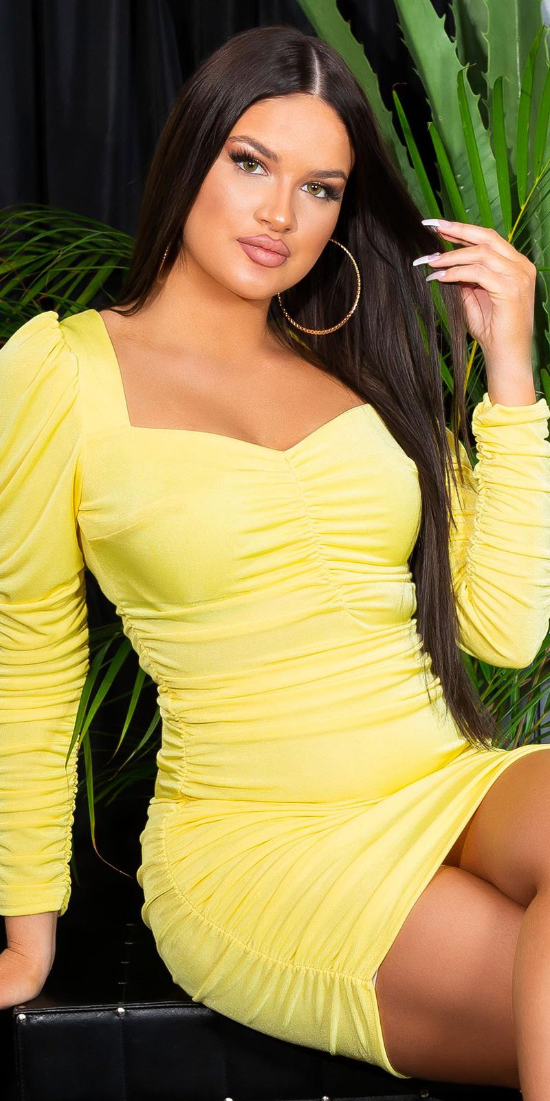 Sexy langmouw jurk volant-geplooid geel