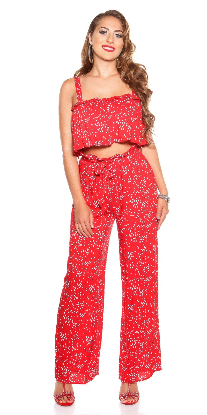 Trendy SET summer pants & top Red