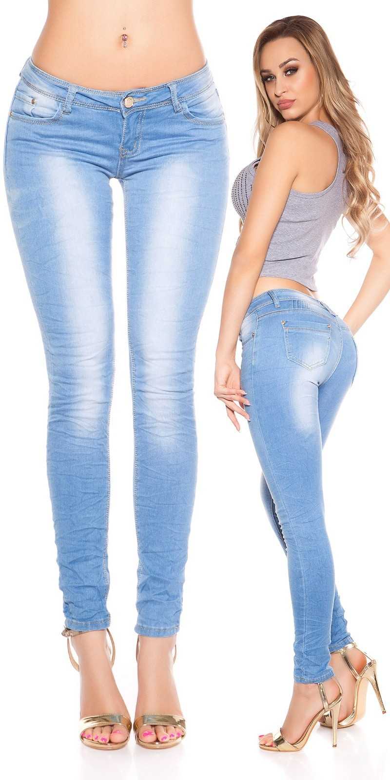 Sexy KouCla Skinny in Used-Look Jeansblue