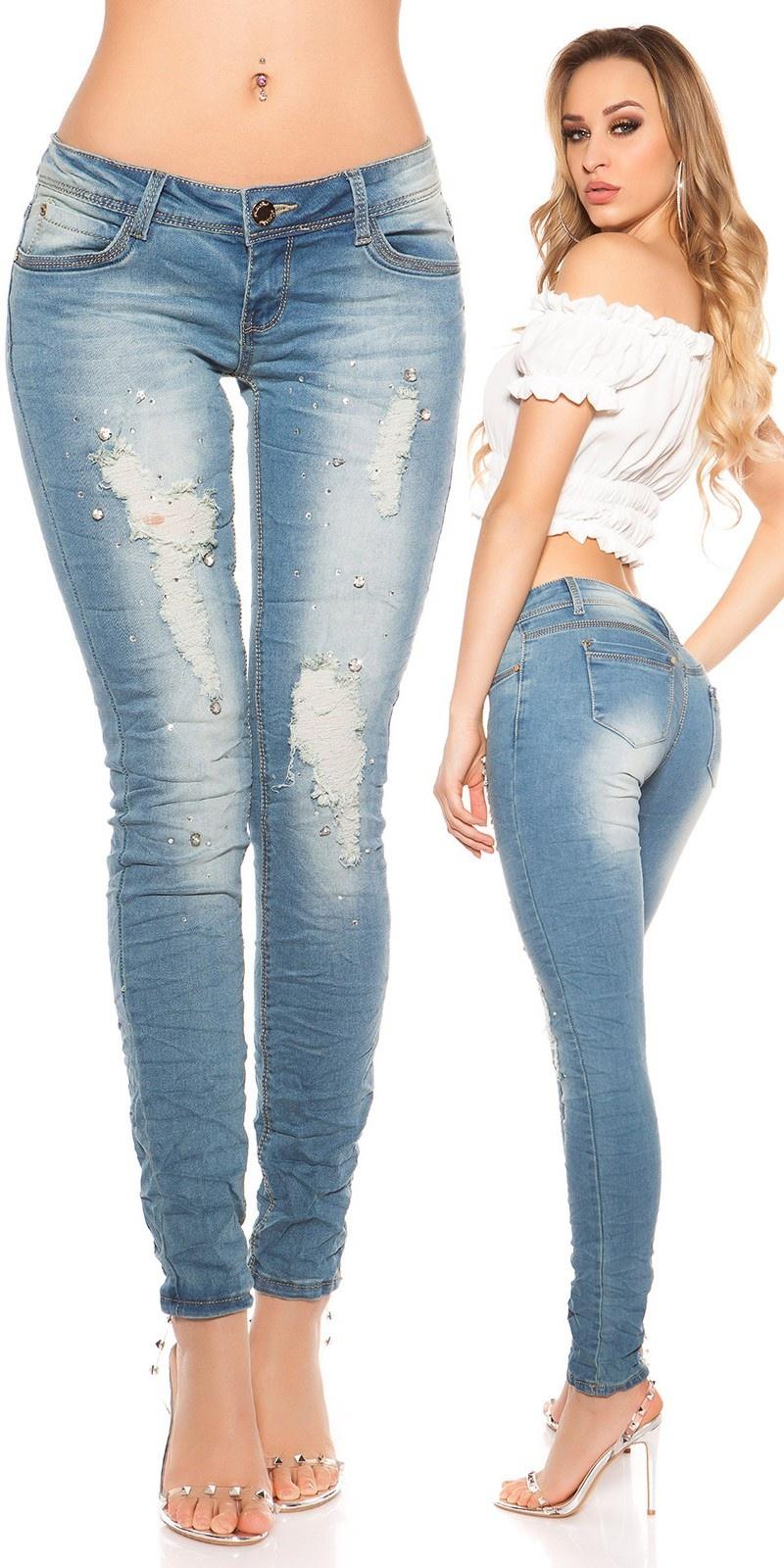 Sexy KouCla Skinny-Jeans with rhinestones Jeansblue