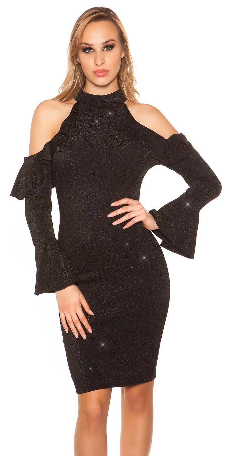 Sexy glitter feest uitgaans-col-jurk zwart