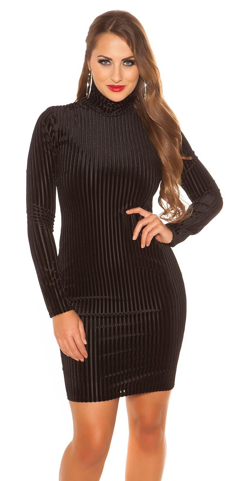 Sexy col mini jurkje lange mouw geribbeld zwart