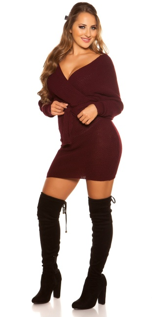Sexy chunky knt mini dress with belt Bordeaux