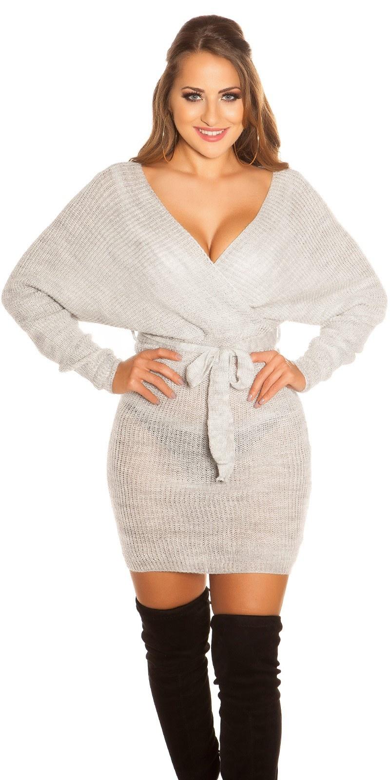 Sexy grof gebreid mini jurkje met riem grijs