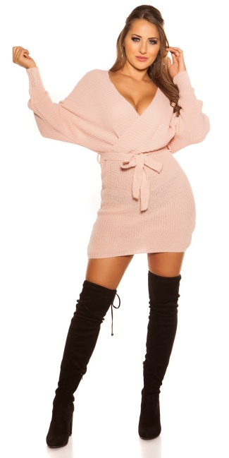 Sexy chunky knt mini dress with belt Pink