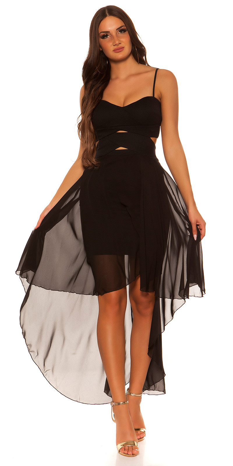 Sexy hoog-laag jurk met sexy inkijk zwart