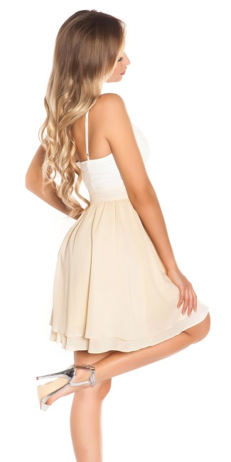 Sexy KouCla Babydoll-minidress with sequins Beige